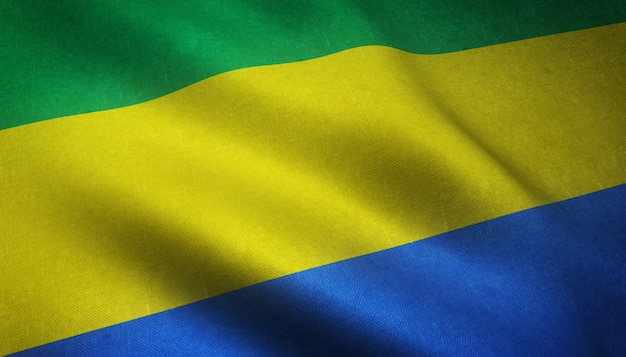 Nahaufnahmeaufnahme der wehenden flagge von gabun Kostenlose Fotos