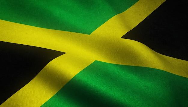 Nahaufnahmeaufnahme der wehenden flagge von jamaika mit interessanten texturen Kostenlose Fotos