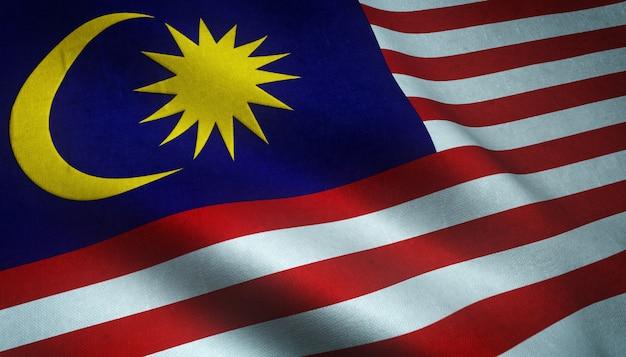 Nahaufnahmeaufnahme der wehenden flagge von malaysia mit interessanten texturen Kostenlose Fotos