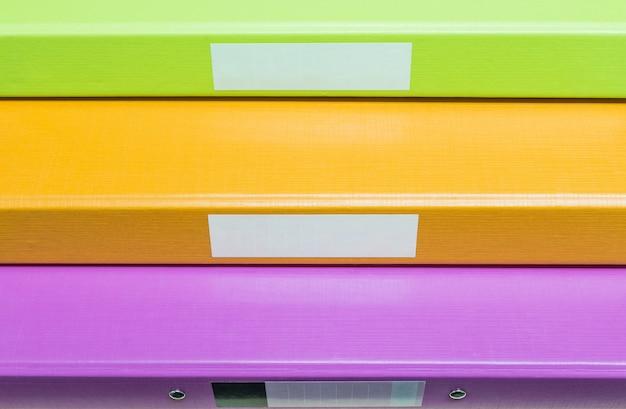 Nahaufnahmegruppe coloreful belegdateihintergrund Premium Fotos