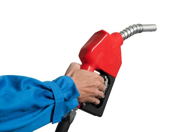 Nahaufnahmehand, die öl-diesel-düse für kraftstoffspender gasohol 91 hält. Premium Fotos