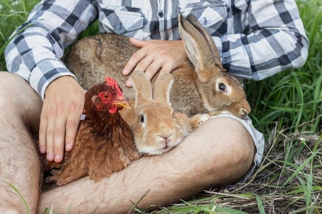 Nahaufnahmejunge, der mit kaninchen und huhn spielt Kostenlose Fotos