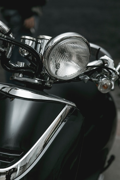 Nahaufnahmescheinwerfer des weinlesemotorrades Kostenlose Fotos
