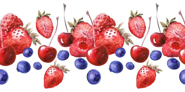 Nahtlose grenze des aquarells mit verschiedenen kleinen kuchen und reifen erdbeeren, blaubeeren, kirschen und himbeeren Premium Fotos