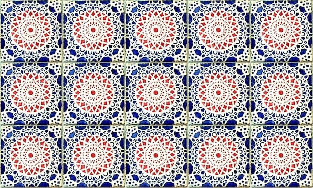 Nahtlose portugal oder spanien azulejo fliese. hohe auflösung. Premium Fotos
