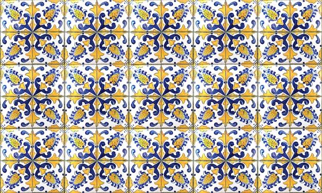 Nahtloser portugal- oder spanien-azulejo-fliesen-hintergrund. hohe auflösung. Premium Fotos