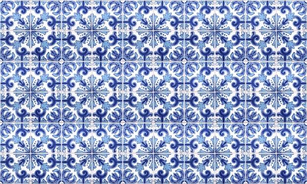 Nahtloser portugal- oder spanien-azulejo-fliesen-hintergrund Premium Fotos