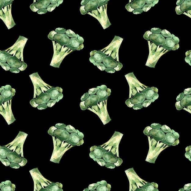 Nahtloses aquarellmuster mit brokkoli auf einem schwarzen hintergrund, illustration mit gemüse Premium Fotos