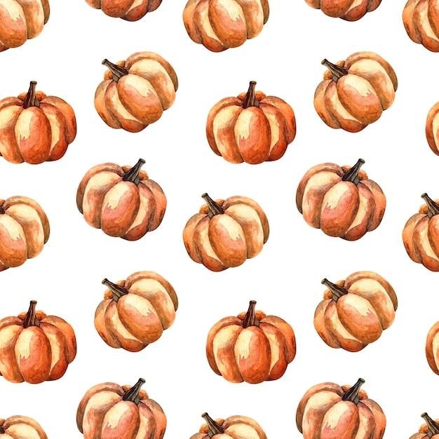 Nahtloses aquarellmuster mit einem orange kürbis auf weißem hintergrund, aquarellillustration mit gemüse Premium Fotos