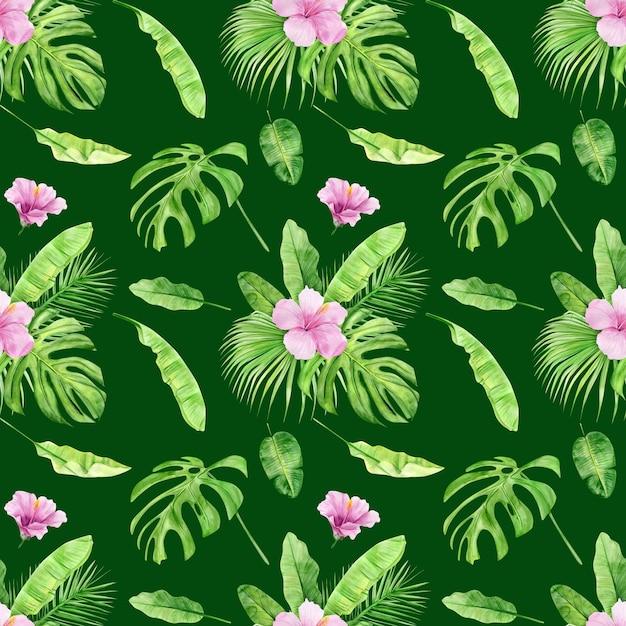 Nahtloses muster der aquarellillustration von tropischen blättern und blumenhibiskus. Premium Fotos