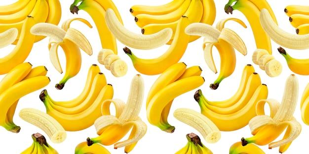Nahtloses muster der banane, fallende bananen lokalisiert auf weiß mit beschneidungspfad Premium Fotos