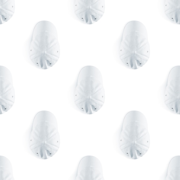 Nahtloses muster der leeren weißen baseballmütze Premium Fotos