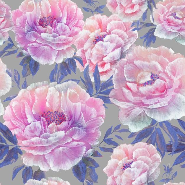 Nahtloses muster der schönen blauen blüte blüht mit blättern und den knospen Premium Fotos