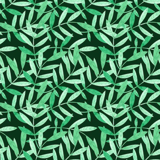 Nahtloses muster des aquarells mit grünen niederlassungen auf dunkelgrünem Premium Fotos