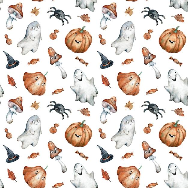 Nahtloses muster des aquarells mit orange halloween-süßigkeiten Premium Fotos