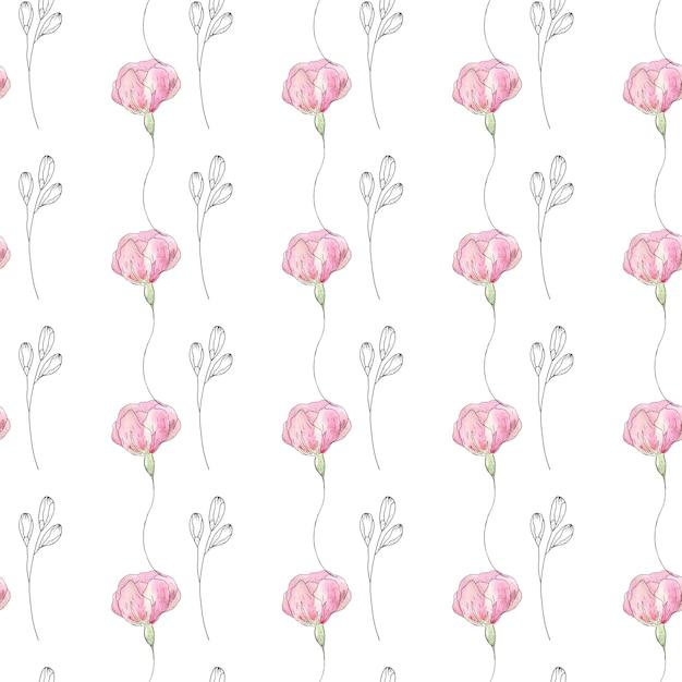 Nahtloses muster des aquarells von sommerblumen und -blättern Premium Fotos