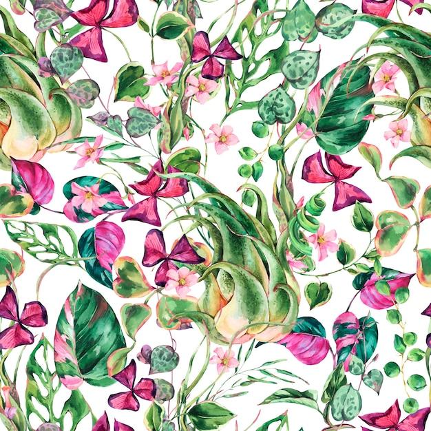 Nahtloses muster des floralen tropischen aquarellblatts. botanische sommerbeschaffenheit. sommerpflanzen. natürliche exotische blumentapete Premium Fotos