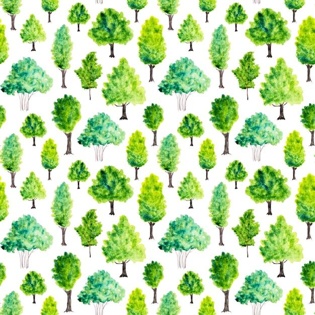 Nahtloses muster mit aquarellgrünbäumen. natur hintergrund Premium Fotos