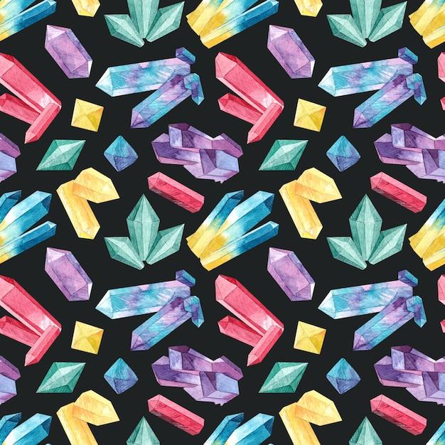 Nahtloses muster mit aquarellkristallen Premium Fotos