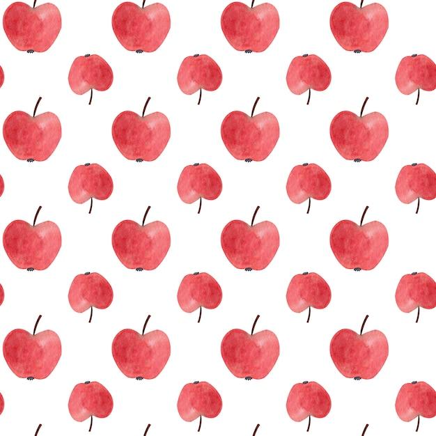 Nahtloses muster mit roten aquarelläpfeln. Premium Fotos