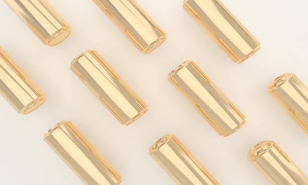 Nahtloses muster von goldenen kalten getränken in metalldosen Premium Fotos