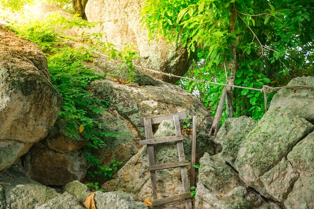 Natürliche aussicht mit alten treppen auf dem felsen Premium Fotos