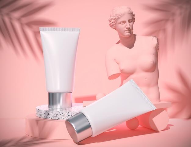 Natürliche kosmetische leere flaschenverpackung im abstrakten blauen schönheits- und badekurortkonzept, wiedergabe 3d. Premium Fotos