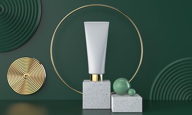 Natürliches kosmetisches paket 3d auf marmor mit grün, illustration 3d. Premium Fotos