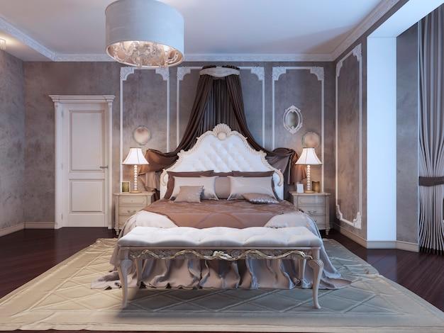 Neoklassizistisches schlafzimmer mit rahmen an den wänden Premium Fotos
