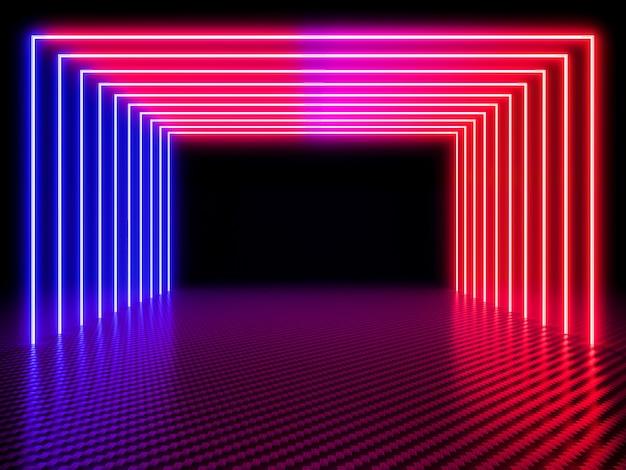 Neonlichttunnel auf kohlenstofffaserhintergrund Premium Fotos