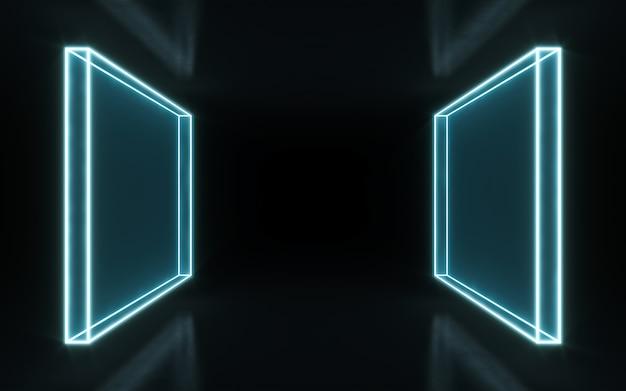 Neonrahmenzeichen in form eines rechtecks. 3d-rendering Premium Fotos