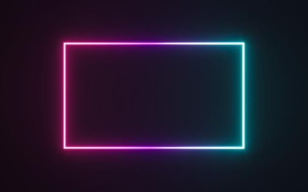 Neonrahmenzeichen in form eines rechtecks Premium Fotos