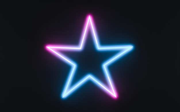 Neonrahmenzeichen in form eines sternes. 3d-darstellung Premium Fotos