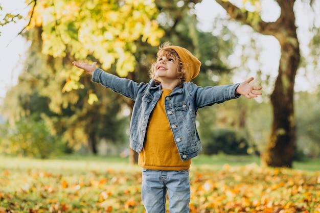 Netter junge, der mit blättern im herbstpark spielt Kostenlose Fotos