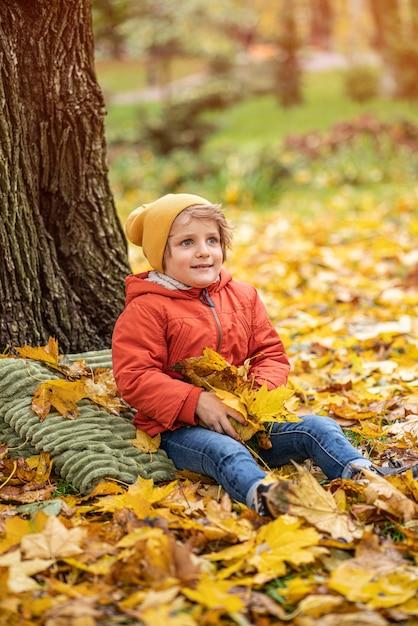 Netter kleiner blonder junge, der spaß draußen im park in der herbstzeit hat, die in den blättern sitzt Premium Fotos