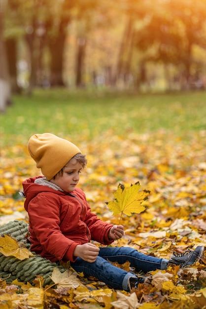 Netter kleiner blonder junge, der spaß draußen im park in der herbstzeit im laub unter einem baum in einer herbstlichen warmen roten farbjacke und einem niedlichen gelben hut hat Premium Fotos