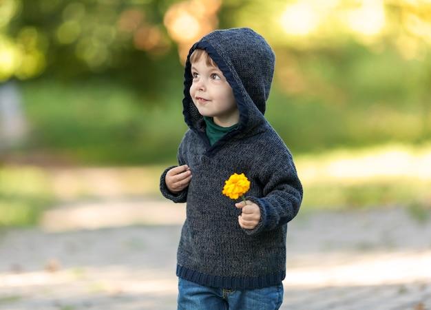 Netter kleiner kerl, der in den park mit einer blume geht Kostenlose Fotos