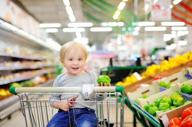 Netter kleinkindjunge, der im warenkorb in einem lebensmittelgeschäft oder in einem supermarkt sitzt Premium Fotos