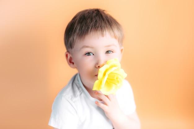 Nettes hübsches kleinkindkind des kleinen jungen steht mit einer gelben rose in seinem mund Premium Fotos