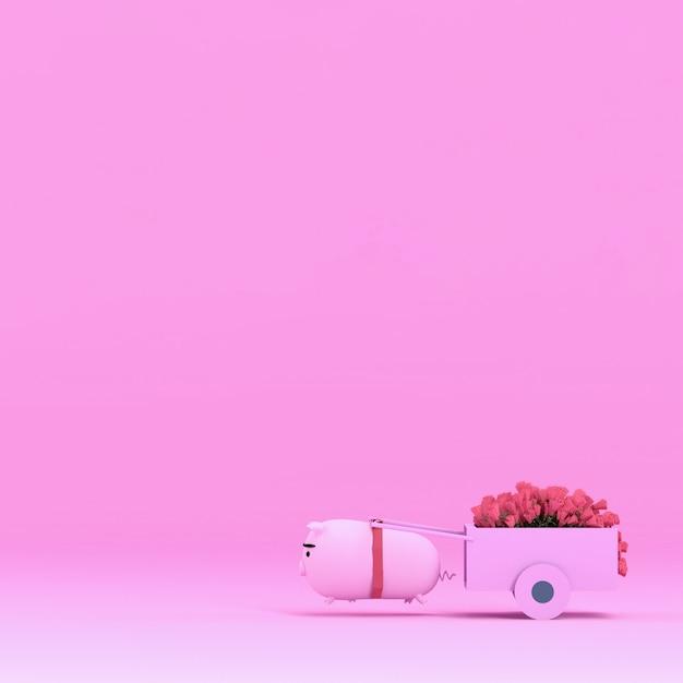 Nettes lustiges schwein und schöne rotrose, wiedergabe 3d Premium Fotos