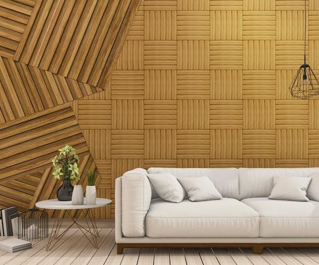 Nettes sofa der wiedergabe 3d mit abstrakter hölzerner wandgestaltung Premium Fotos
