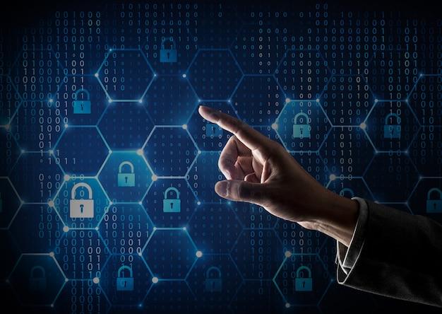 Netzwerk-firewall und menschliche finger Premium Fotos