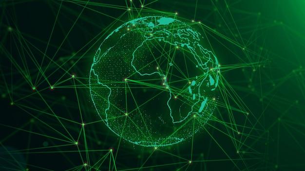 Netzwerk mit knoten verbunden hintergrund. globales netzwerk-konzept. Premium Fotos