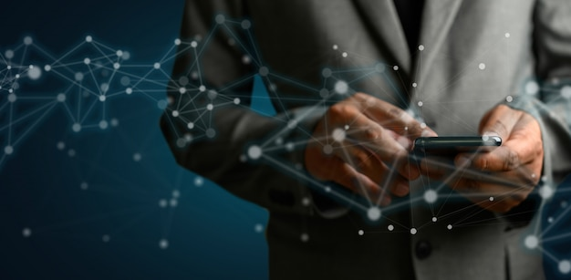 Netzwerk- und datenkundenverbindung cloud-basiertes webmann-netzwerk 3d-rendering Premium Fotos