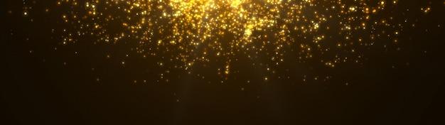 Neues jahr 2020. bokeh hintergrund. leuchtet abstrakt. frohe weihnachten hintergrund. gold glitzerndes licht. defokussierte partikel. isoliert auf schwarz überlagerung. goldene farbe. panoramablick Premium Fotos