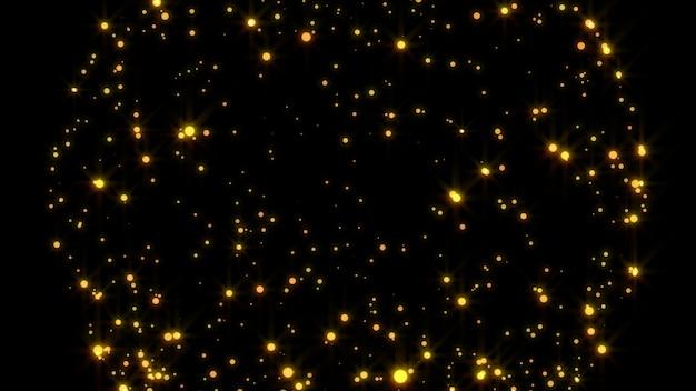 Neues jahr 2020. bokeh hintergrund. leuchtet abstrakt. frohe weihnachten hintergrund. gold glitzerndes licht. defokussierte partikel. isoliert auf schwarz überlagerung. goldene farbe Premium Fotos