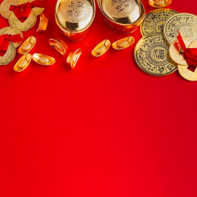Neujahr chinesischer 2021 kopienraum roter hintergrund Kostenlose Fotos
