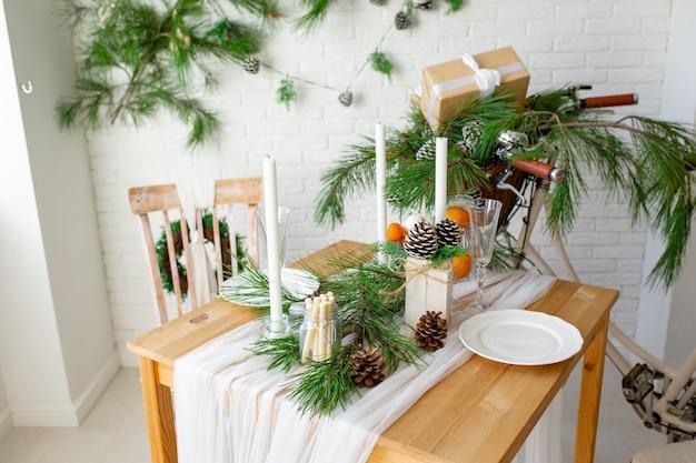 Neujahrsdekoration der küche und des wohnzimmers Premium Fotos