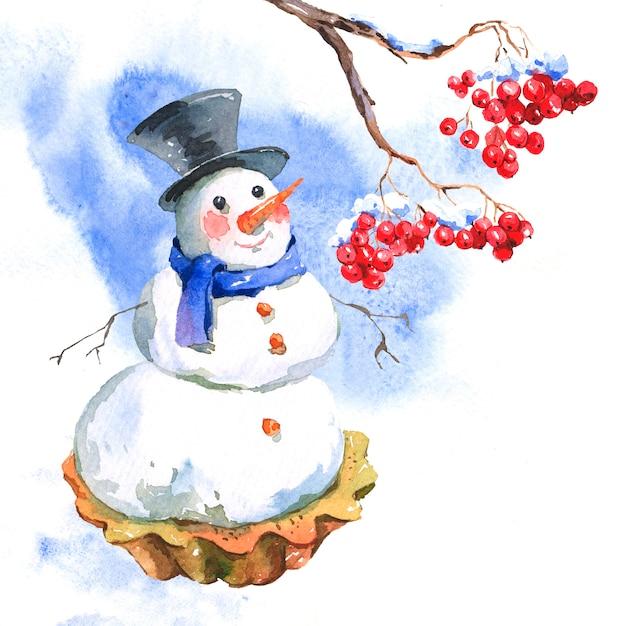 Neujahrskarte mit schneemann cupcakes Premium Fotos