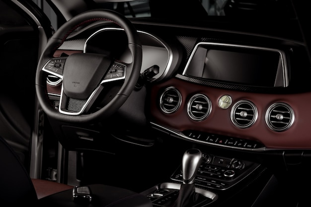 Neuwageninnenraum, automatikgetriebe Premium Fotos